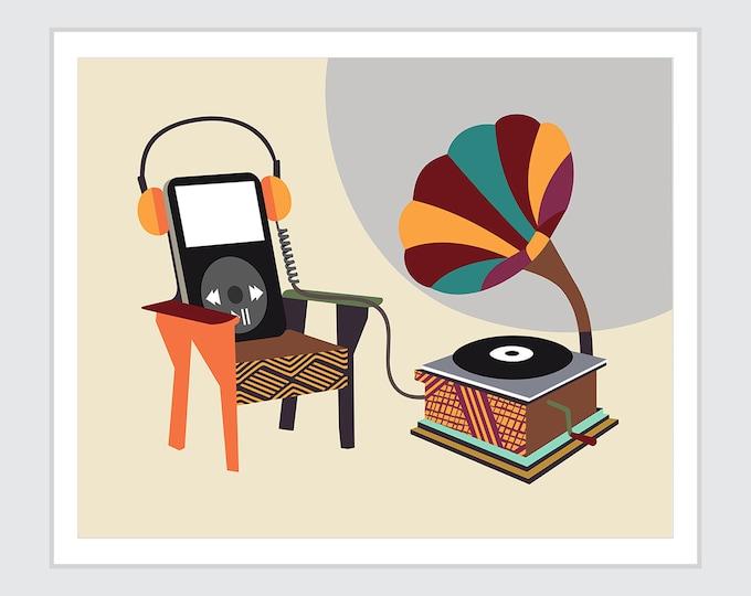 Funny Music Poster Wall Art Print, Gramophone Player Retro Vintage Decor