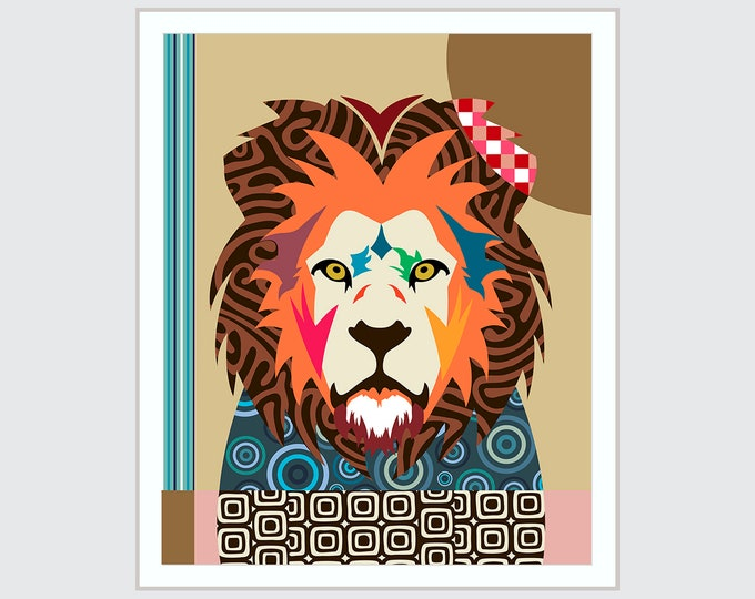 Lion Wall Art Print Poster, Jungle Animal Painting