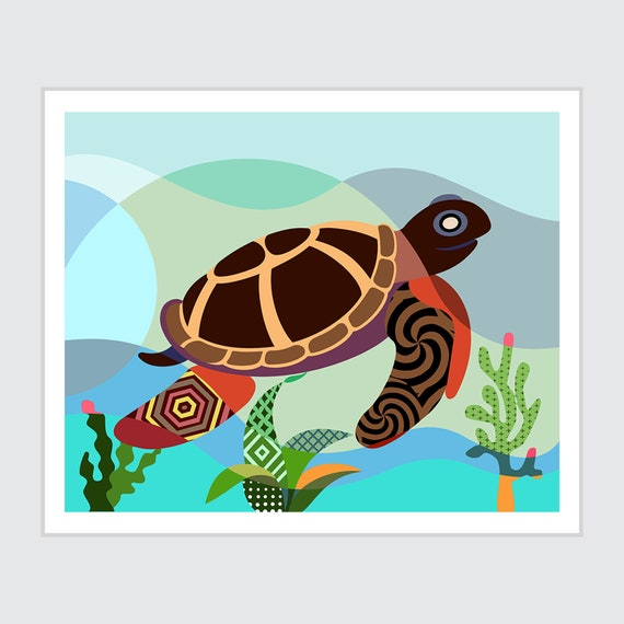 Sea Turtle Wall Art, Marine Animal Reptile Poster Painting