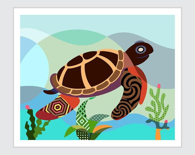 Sea Turtle Wall Art, Marine Animal Reptile Poster Painting