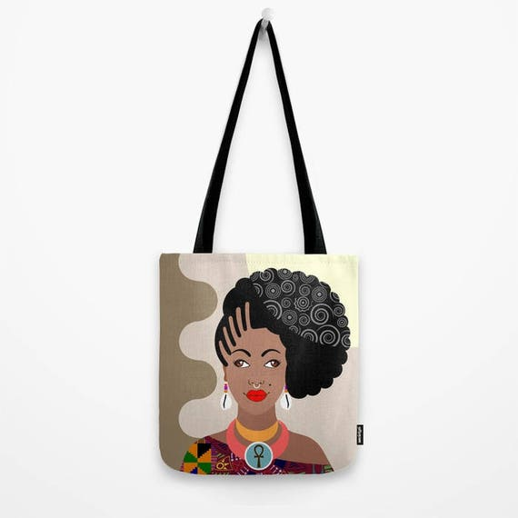 African Tote Bag,  African Woman Painting, Natural Hair Art, African Queen, Afro Girl, Afrocentric, African Gift, African designer