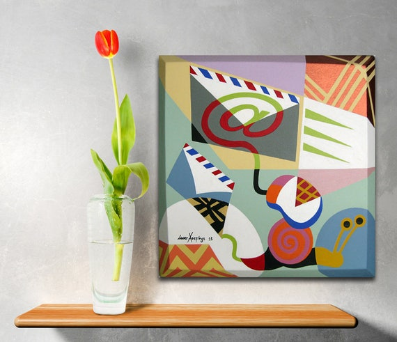 Original Art, Snail Painting, Mail Art, Mail Decor, Snail Decor, Snail Drawing, Acrylic Painting, Geometric Abstract Art, Geometric Artwork