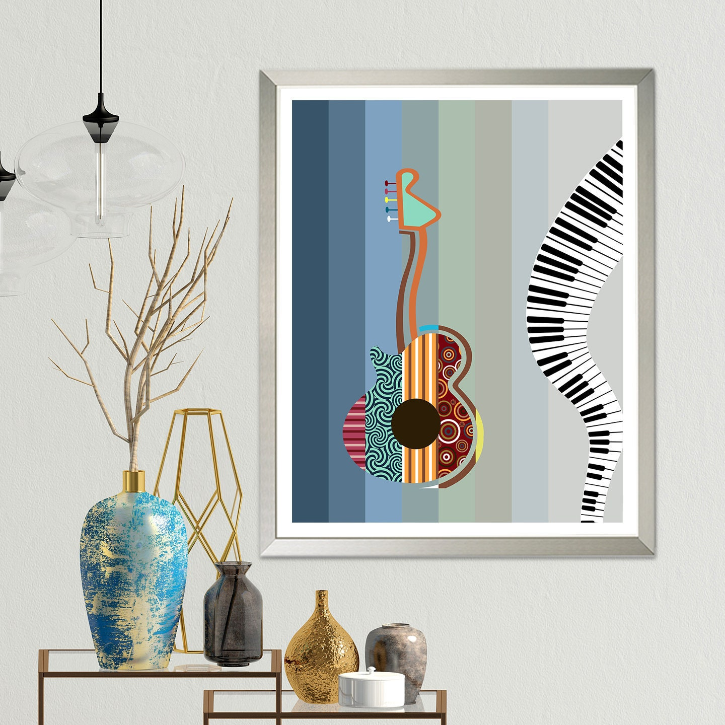Abstract Guitar Painting Music Wall Decor Piano Poster Print
