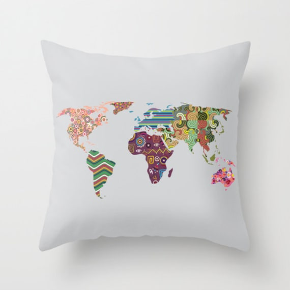 World Map Throw Pillow, Globe Pillow Decor