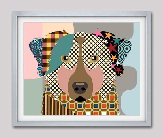 Australian Shepherd Art, Aussie, Australian Shepherd Gift, Australian Shepherd Dog Pet Portrait, Animal Art, Dog Painting, Dog Wall Art