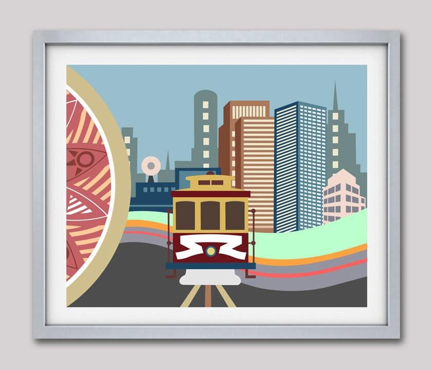 San Francisco Wall Art, San Francisco Print, San Francisco Poster, San  Francisco Skyline, San Francisco Landmarks Cable Car