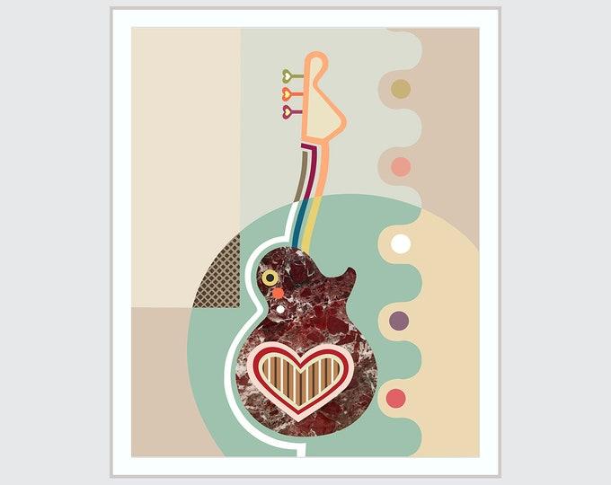 Guitar Artwork Music Painting, Heart String Art Abstract Decor
