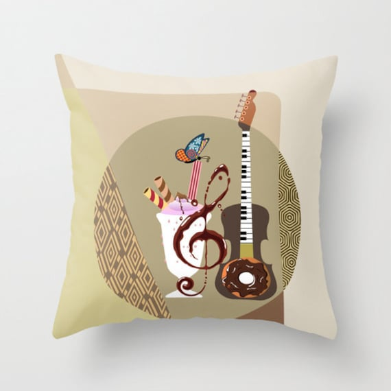 Guitar Decorative Pillow, Music Inspired  Throw Pillow, Cute Pillow, Pillow Case, Cream, Tan, Beige, Brown
