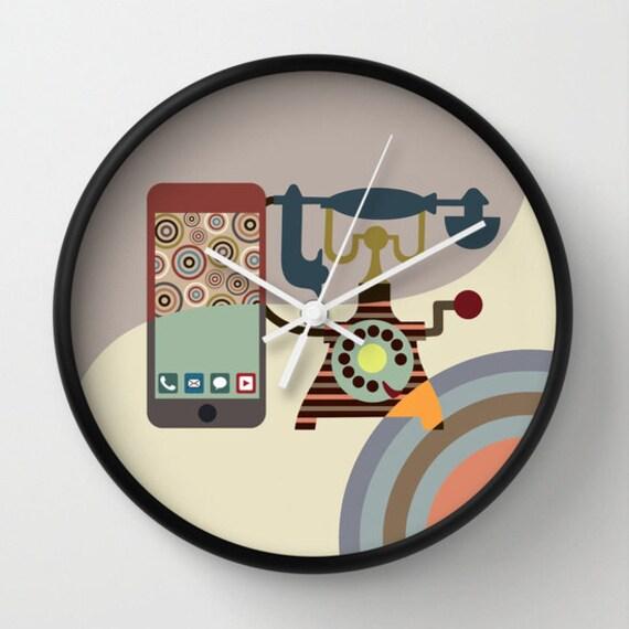 Cute Wall Clock, Unique Wall Clock, Retro Wall Clock, Wall Clock Home Decor, Wall Clock Vintage, Cream, Tan, Beige
