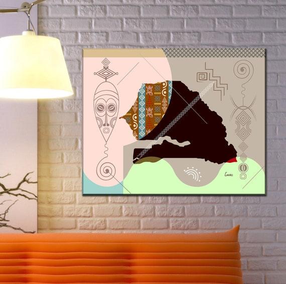 Senegal Map Art Print Wall Decor, Dakar West African Poster