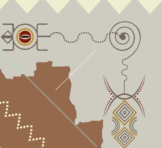 Angola Map Art Print, Luanda Central Africa Wall Decor