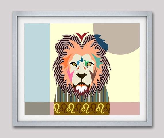 Leo Zodiac Art,  Leo Star Sign Poster,  Leo Gift, Leo Print Wall Art, Zodiac Gift, Horoscope Gift, Lion Art Print, Lion Poster
