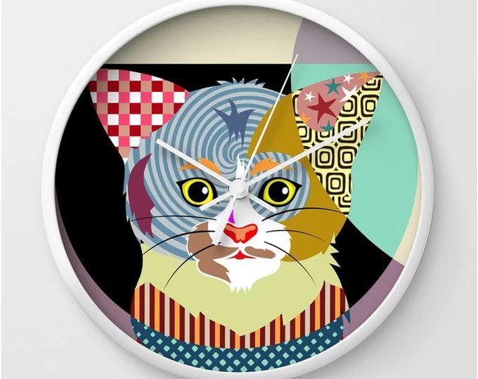 Cat Wall Clock, Kitten Art Home Decor Pet Lover Gift
