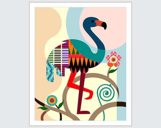 Flamingo Art Print, Wading Bird Lovers Gift