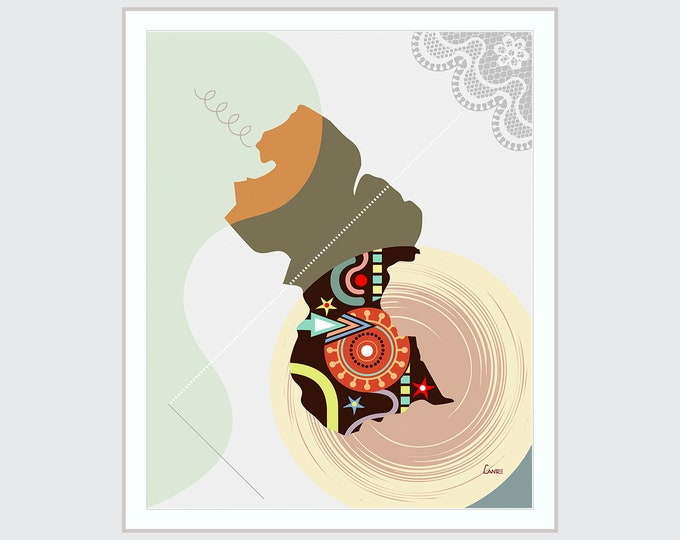 Guyana Map Georgetown Poster, South America Décor Abstract Cubist Wall Travel Art