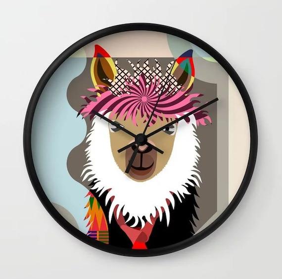 Llama Clock Decor Gift, Animal Portrait Wall Art Print
