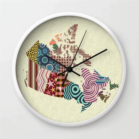 Canada Clock Map Decor, Canadian Day Gift Printed Wall Art