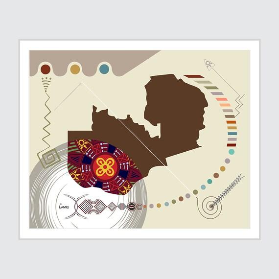 Zambia Wall Art Map Print, Lusaka African Country Decor