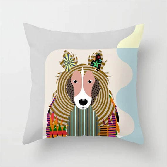 Sheltie Pillow, Shetland Sheepdog  Art Decor Gift