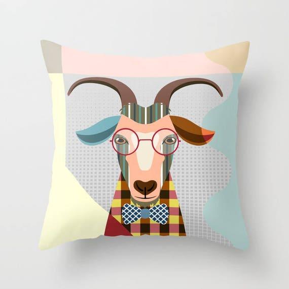 Goat Pillow, Goat Gifts, Goat Art, Animal Pillow,  Farm Animal Pillow, Goat Lovers Gift, Goat Print, Goat Decor, Animal Portrait