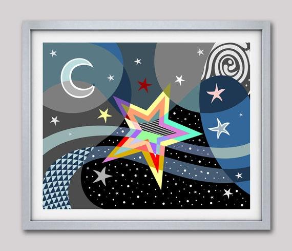 Star wall Art, Star Wall decor, Star Poster, Star Decor, Star Art, Starlight Poster Art Print, Star Print