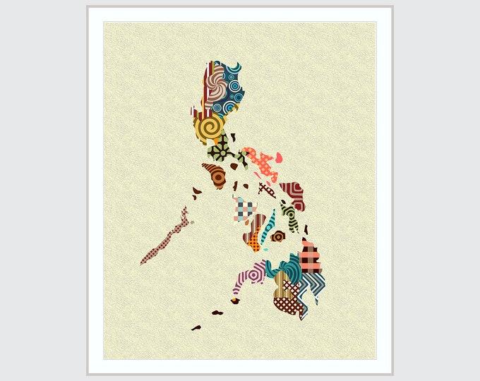 Philippines Map Art Print, Manila Home Decor Painting