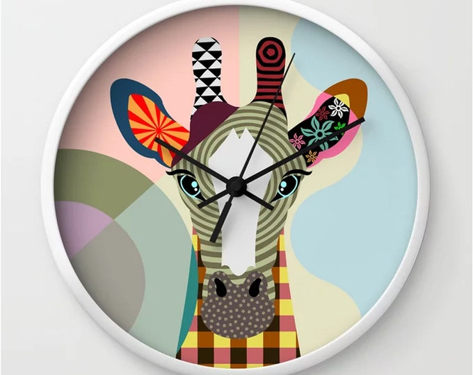Giraffe Wall Clock, Jungle Animal Nursery Decor