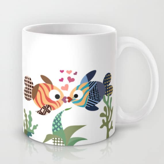 Fish Mug, Love Mug, Valentine Gift, Unique Coffee Mug, Mermaid Gift, Drinking Mug, Cool Coffee Mug, Turquoise, Blue, Tea