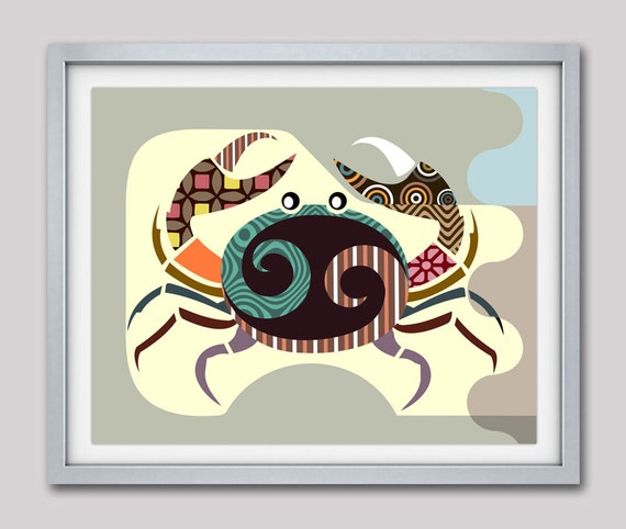 Cancer Zodiac Art, Cancer Star Sign Poster, Cancer Print Wall Art, Cancer Art Print, Zodiac Gift, Horoscope Gift, Crab Print, Crab Art Decor