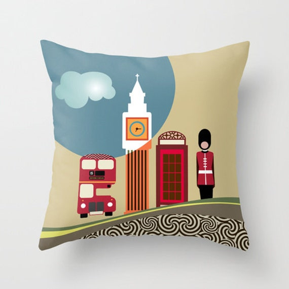 London Decorative Throw Pillow Case, London Travel Art Pillow, London Bus, Big Ben, London Guard, London Telephone Booth