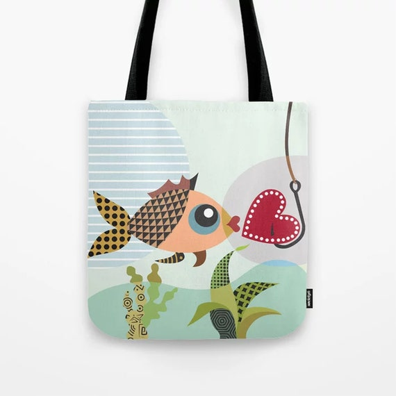 Fish Bag Love Tote, Valentine Gift Red Heart Print