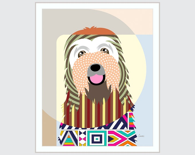 Bearded Collie Art, Beardie Dog Pop Art Pet Portrait Animal Painting