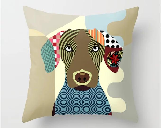 Vizsla Pillow, Hungarian Dog Cushion Pet Portrait Gift