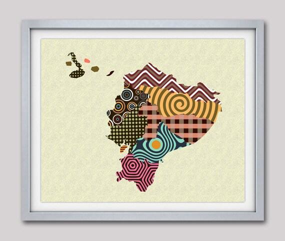 Ecuador Map,  Ecuador Art,  Ecuador Decor,  Ecuador Poster, Quito South America Map Art Giclee Print, Gift Souvenir