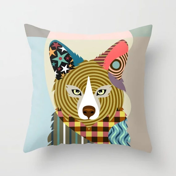 Fox Throw Pillow, Animal Cushion Farm House Decor