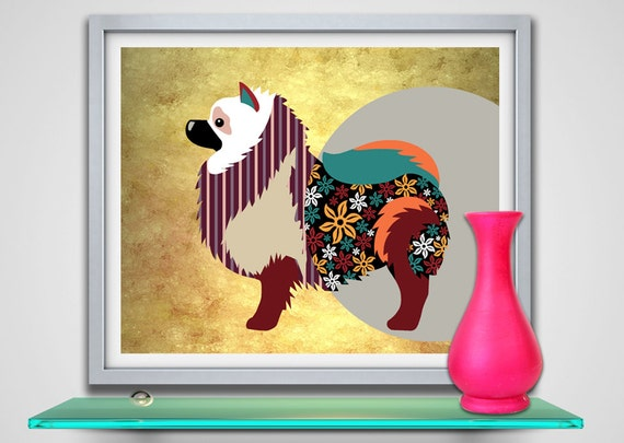 Keeshond Dog Art Print, Keeshond  Poster, Keeshond Gift, Keeshond  Dog, Pet Portrait, Dog Lovers Gift, Pop Art Dog Print