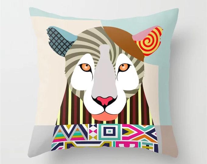 Leopard Throw Pillow, Animal Pop Art Print Home Decor