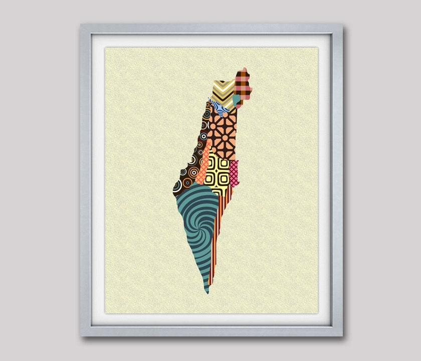 Httpwww Overlordsofchaos Comhtmlorigin Of The Word Jew Html: Israel Map, Israeli Art Print, Israeli Travel Poster Wall