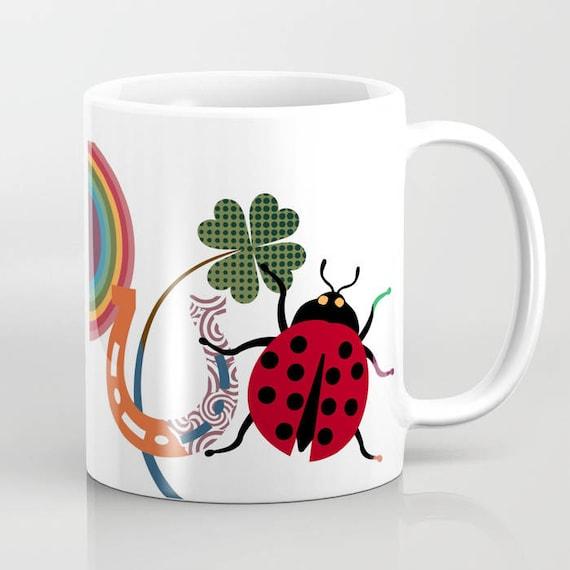 Good Luck Mug, Good Luck Charm Gift, Ladybug Gift, Lady Bird Design, Ladybug Gift, Horse Shoe Mug, Horse Shoe Art