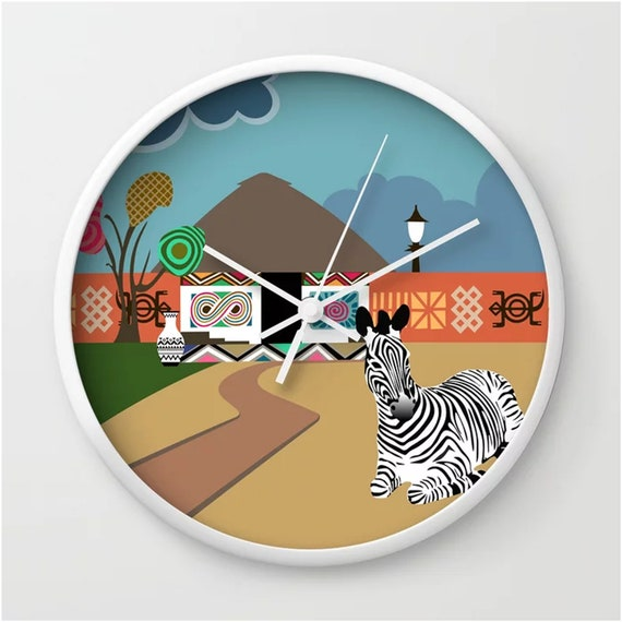 African Wall Clock, Afrocentric Decor Black Culture
