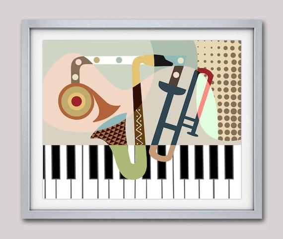 Music Art-print, Gift for Music Lover, Music  Decor, Saxophone Art, Piano Art, Music Wall Art, Retro Music Poster