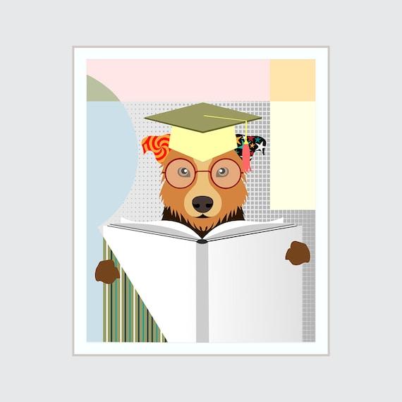 Border Collie Art, Funny Dog Print Pet Portrait