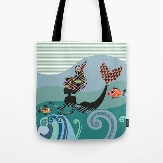 Mermaid Tote Bag, Mermaid Bag, Mermaid Gift For Girls, Mermaid Gift Bags, Mermaid Gifts For Women, Mermaid Accessories
