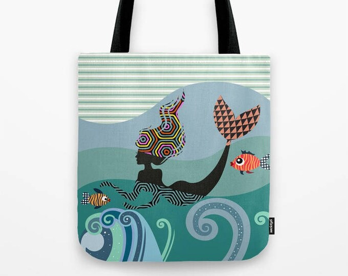Mermaid Tote Bag, Gift For Girls Canvas Tote