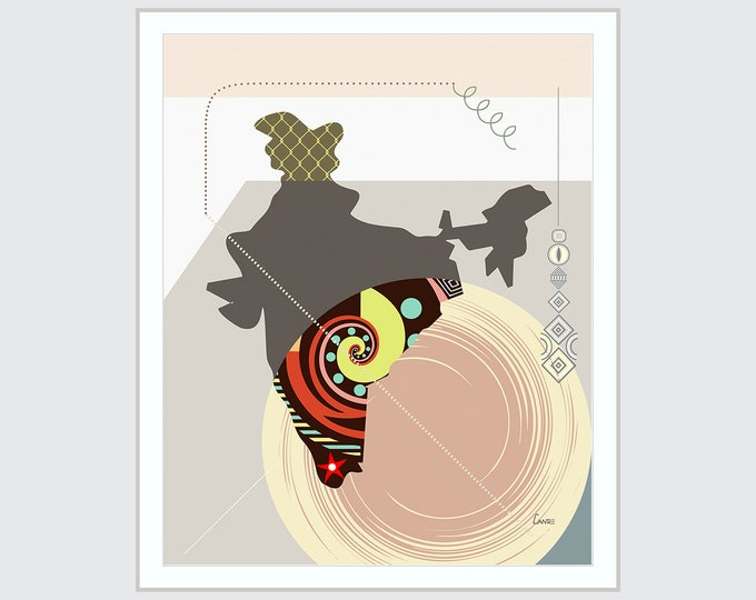 India Map Print New Delhi South Asian Abstract Cubist Geometric Design