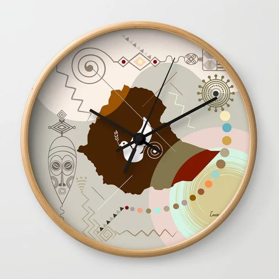 Ethiopia Art, Ethiopia Gift, Ethiopia Decor, Ethiopia Map, Addis Ababa, Ethiopia Clock, African Gift, African Art, African Decor
