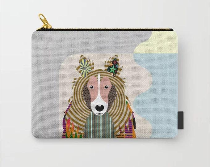 Sheltie Purse, Shetland Sheepdog Dog Zipper Pouch