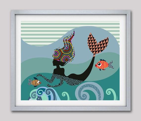 Mermaid Painting, Mermaid Art Print, Mermaid Art Work, Mermaid Art,  Little Mermaid Poster, Mermaid Accessories, Mermaid Gift