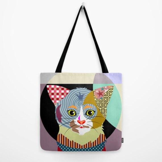 Cat Tote Bag, Animal Tote Decorative Cat Bag, kitten bag, Cat Lover Gift Tote Bag, Animal Lover Gift, Colourful