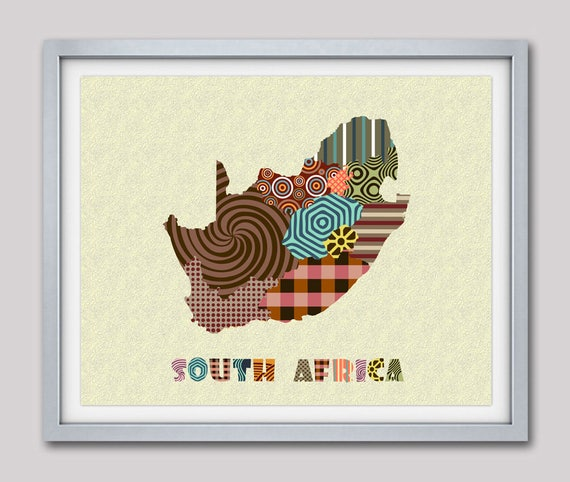 South African Map, South African Art, Johannesburg South African Map Print